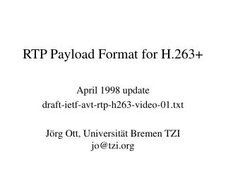 RTP Payload Format for H.263+