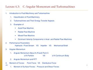 Lecture 6.3:    C-Angular Momentum and Turbomachines