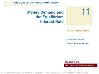 Money Demand and the Equilibrium Interest Rate