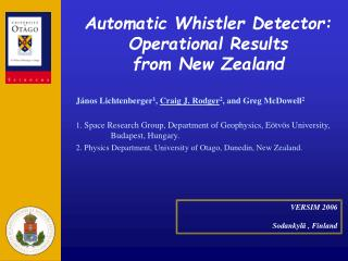 Automatic Whistler Detector:  Operational Results  from New Zealand