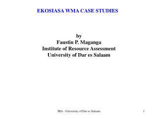 EKOSIASA WMA CASE STUDIES