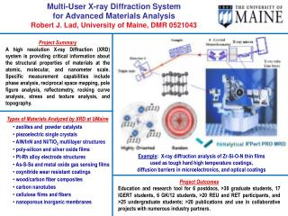 Multi-User X-ray Diffraction System  for Advanced Materials Analysis