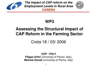 UOP - ITALY Filippo Arfini  (University of Parma. Italy) .