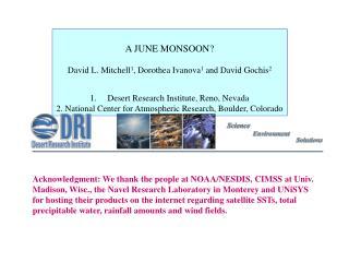 A JUNE MONSOON? David L. Mitchell 1 ,  Dorothea Ivanova 1  and David Gochis 2