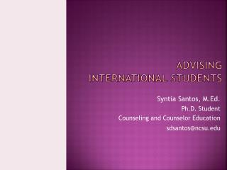 Advising  International students