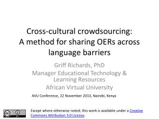 Cross-cultural crowdsourcing: A method for sharing OERs across language barriers