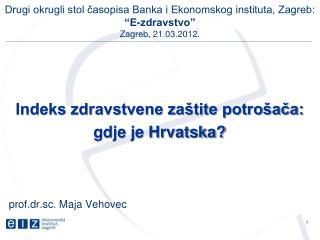 Indeks zdravstvene zaštite potrošača:  gdje je Hrvatska? prof.dr.sc. Maja Vehovec
