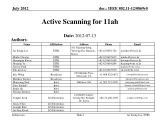 Active Scanning for 11ah