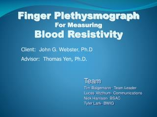 Finger Plethysmograph For Measuring Blood Resistivity