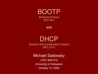 DHCP Dynamic Host Configuration Protocol (RFC 2131)