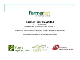 A FARMER PARTICIPATORY RESEARCH AND ADAPTIVE MANAGEMENT