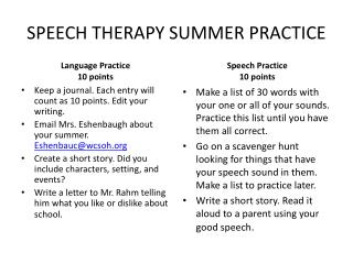 SPEECH THERAPY SUMMER PRACTICE