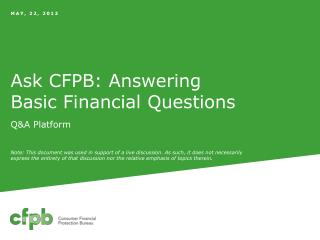 Ask CFPB: Answering Basic Financial Questions