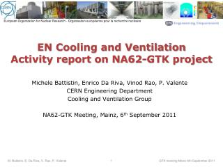EN Cooling and Ventilation Activity report on NA62-GTK project