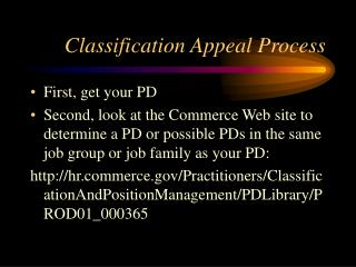 Classification Appeal Process