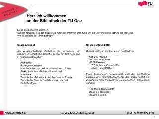 Herzlich willkommen an der Bibliothek der TU Graz