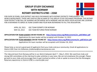 GROUP STUDY EXCHANGE WITH NORWAY ROTARY DISTRICTS 6780 – 2260
