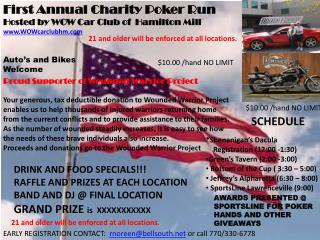 First Annual Charity Poker Run Hosted  by WOW Car Club of  Hamilton Mill WOWcarclubhm