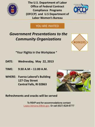The U.S. Department of Labor Office of Federal Contract Compliance  Programs