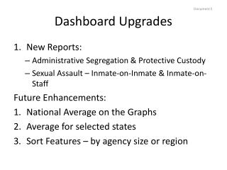 Dashboard Upgrades