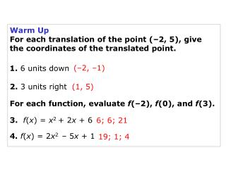 Warm Up For each translation of the point (–2, 5), give the coordinates of the translated point.