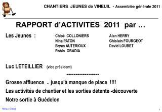 RAPPORT d'ACTIVITES   2011   par …