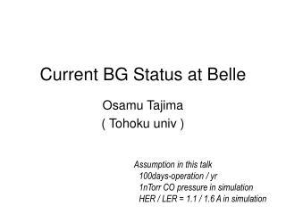Current BG Status at Belle