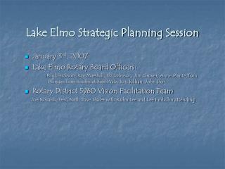 Lake Elmo Strategic Planning Session