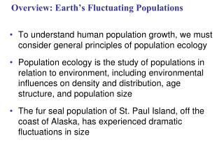 Overview: Earth's Fluctuating Populations