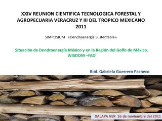 Situación de  Dendroenergía  México y en la Región del Golfo de México. WISDOM –FAO