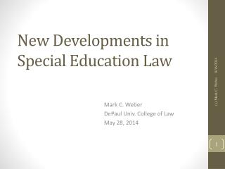 New Developments in Special Education Law