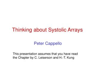 Thinking about Systolic Arrays