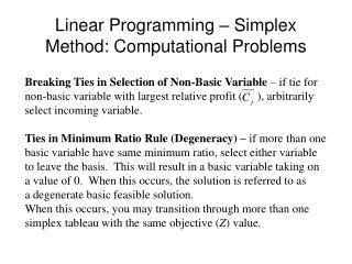 Linear Programming – Simplex Method: Computational Problems