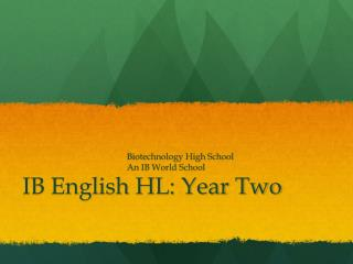 IB English HL: Year Two
