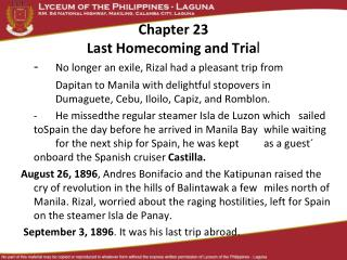 Chapter 23 Last Homecoming and Tria l
