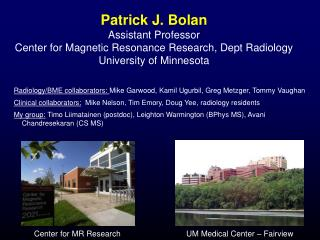 Patrick J. Bolan Assistant Professor Center for Magnetic Resonance Research, Dept Radiology