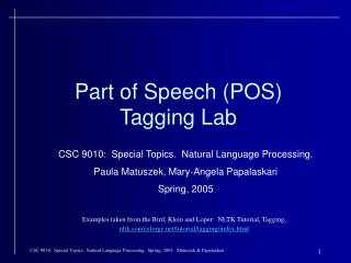 Part of Speech (POS) Tagging Lab