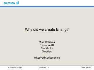 Why did we create Erlang?