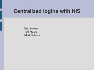 Centralized logins with NIS
