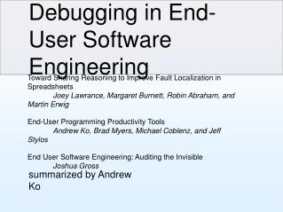 Debugging in End-User Software Engineering