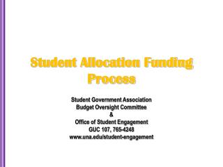 Student Allocation Funding Process