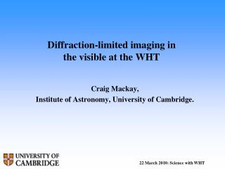 Diffraction-limited imaging in the visible at the WHT