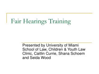 Fair Hearings Training