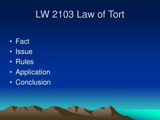 LW 2103 Law of Tort