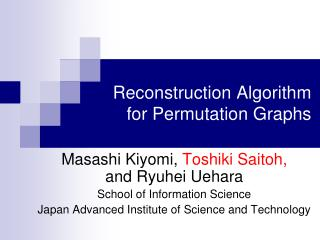 Reconstruction Algorithm for Permutation Graphs
