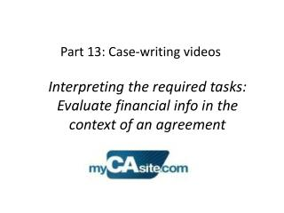 Part 13: Case-writing videos