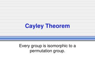 Cayley Theorem