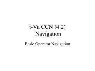 i-Vu CCN (4.2)  Navigation