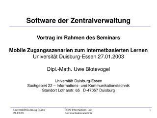 Software der Zentralverwaltung