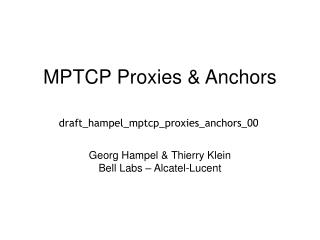 MPTCP Proxies & Anchors
